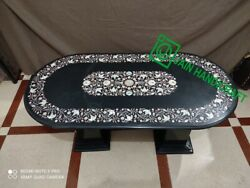 48x24 Black Marble Table Top Coffee Center Inlay Malachite Lapis With Stand K5