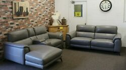 The Odyssey Electric 3 Seater Sofa And Lhf Chaise Sofa In Elephant Grey Leather