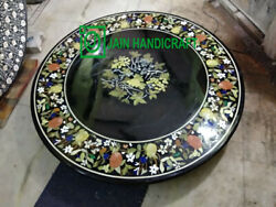 30 Black Marble Table Top Coffee Dining Inlay Lapis Mosaic Handmade Antique H4