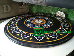 30 Black Marble Table Top Coffee Dining Inlay Lapis Mosaic Handmade Antique H10