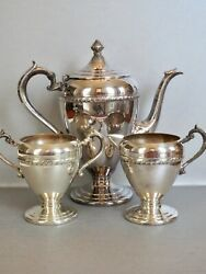 Vintage Sheffield Mansfield Mass Silver On Copper Teapot Creamer And Sugar Bowl