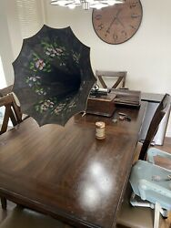Early 1900s Original Edison Home Cylinder Phonograph W/ Morning Glory Large Horn