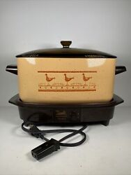 West Bend WB Slow Cooker 6 Qt Griddle Base Amber Glass Dome Lid Chicken Duck