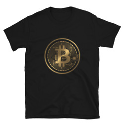 Bitcoin T Shirt Crypto Currency Traders Gold Coin Black Tee