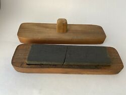 Vintage Knife / Blade Sharpening Stone In Wooden Box - Cracked Stone