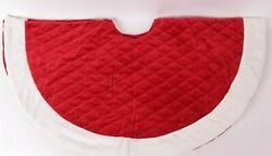Pottery Barn Classic Velvet Christmas Tree Skirt Small 45 Ruby Red Ivory Cuff
