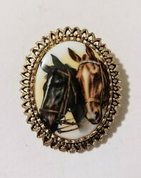 Vintage Horses Cameo Porcelain Transfer 2quot; Oval Gold Tone Brooch Pin Equestrian