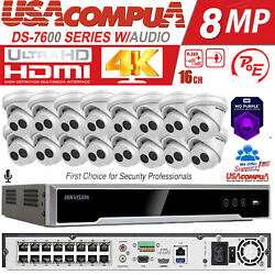 Hikvision 4k 16ch 4mp 16 Poe Security Camera System W/audio Ds-2cd2343g0-iu 2tb