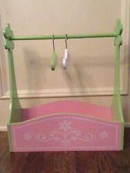 Wooden Doll Clothes Rack And Caddy With Hangers For American Girl Dolls