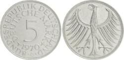 5 Dm J.387 Silver Currency Coin 1970 G Without Randschrift Edge Smooth Vf-xf