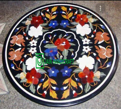 24and039and039 Marble Coffee Center Table Top Inlay Lapis Mother Of Pearl Antique Decor K6