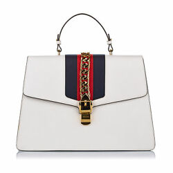Pre-loved White Calf Leather Maxi Sylvie Satchel Italy