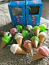Vintage Noma 2 Sets Blow Mold Ice Cream Cones 14 String Lights Party W/boxes Euc
