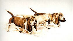 BASSET HOUND DOG FINE ART SEPIA LIMITED EDITION PRINT by the late Roger Inman