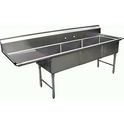 3 Compartment S/s Sink 18x24 With Left Drainboard Nsf