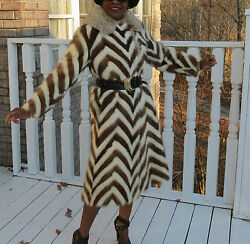 Mint Unique Full Length White Andbrown Mink And Fox Fur Coat Jacket Stroller S-m 2-9