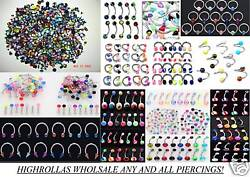1000+ PC Body Jewelry Tongue-Belly-Eyebrow-Lip-Labret-Captive Rings-Ear Plugs-CZ