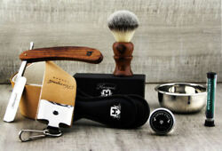 Vintage Style Men's Shaving Set With Synthetic Shave Brush Old Style Barber Kit