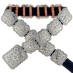 Hand Stamped High Shine Silver Concho Belt By Navajo Tom Ahasteen