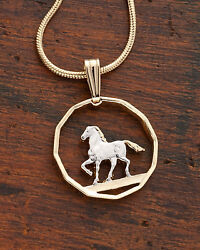 Horse Pendant And Necklace South American Coin Hand Cut 5/8 Diam.  300