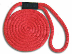 3/8 X 25and039 Red Solid Braid Nylon Dock Lines - Made In Usa
