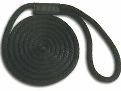 Black Nylon Dock Lines 5/8 X 10and039 - Made In Usa