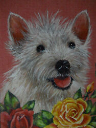 White Terrier mix dog animal Rose garden print