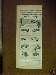 1963 Matchbox Garbage Truck Armored Policecarssnow Plow Kids Toy Paper Ad