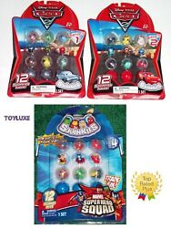Squinkies Disney Pixar Cars 2 And Marvel Squad 12 Pack W/3 Mystery Bubble Capsules