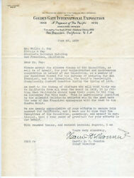 1939 Ggie Letter From Director Of Worlds Fair Sf Ca