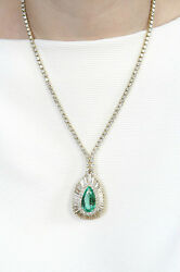 Stunning Necklace -- Emerald 10.96 ct Pear Shaped & 14.82 ct Pave' Diamonds