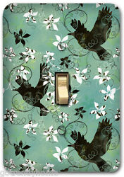 Blue Flying Birds Floral Metal Single Light Switch Plate Cover Home Decor 248
