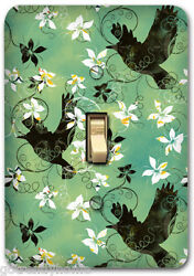 Blue Flying Birds Floral Metal Single Light Switch Plate Cover Home Decor 247