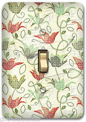 Green Red Flower Floral Metal Single Light Switch Plate Cover Home Decor 252