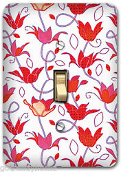 Red Flower Floral Pattern Metal Single Light Switch Plate Cover Home Decor 253