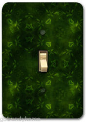 Green Leaf Floral Pattern Metal Single Light Switch Plate Cover Home Decor 231