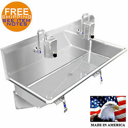 Hand Sink Industrial 2 Station 48 Hans Free 304 Stainless Steel Made In America
