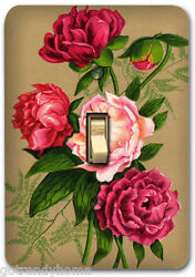 Red Rose Flower Floral Metal Light Switch Plate Cover Kitchen Home Decor 619