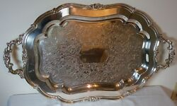 Silver Plate Oval 27 7/8 By 16 1/4 Scroll Design Serving Tray By 1881 Rogers