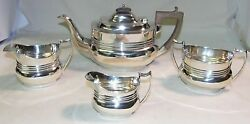 Mappin And Webb Sterling Silver Art Deco 4 Pc Tea Set '17