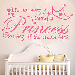 It's Not Easy Being A Princess Wall Quote Decal Sticker Girls Bedroom Vinyl