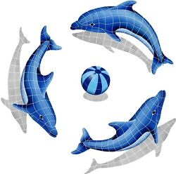 Mosaic Shadow Dolphins And Beach Balls For Swimming Pool Or Wall - Many Choices