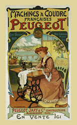 Lady Sewing Sew Paris Peugeot French Fabric Expo Vintage Poster Repro Free S/h