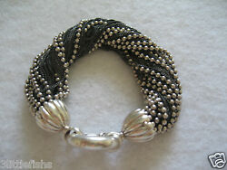 And Co. Sterling Silver 925 Torsade Fine And Ball Chains Bracelet Rare