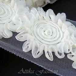 White Cream ROSETTE Chiffon LACE TRIM Appliques DIY Crafts 1y 16 Large Flowers