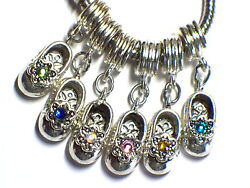 Birthstone Baby Shoe With Crystal Charm Fits European Bracelets -buy 2 Get 1 Fre