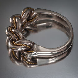 Latvian Ethnic White And Yellow Gold Closed Band Namejs Ring From Latvia