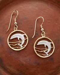 Dolphin Earrings. Hand Cut Russian Coins- 5/8 Dia.gold Filled Wires 505be