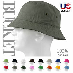 MEN 100% COTTON FISHING BUCKET HAT CAP SUN BOONIE SUMMER BRIM VISOR $8.75