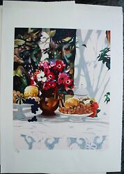 Georges Blouin Flowers W.fruit Bowl Hand Signed Original Lithograph French 30x22
